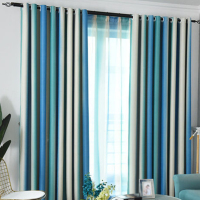 Drapes Colorful Rainbow Home Decor Nordic Style Shading Modern Bedroom Tulle Living Room Blackout Elegant Window Curtain Striped