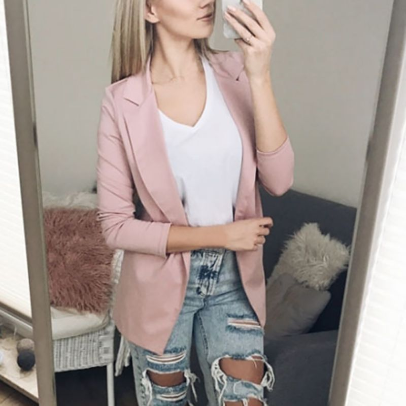 Women Autumn Winter Solid Color Formal Jackets Lapel Casual Long Sleeves Warm Coat Office Lady Female Pink Grey Black Blazer