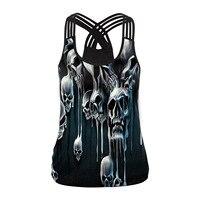 New Women Skull Digital Print Tank Tops Vest 2018 Lady Sexy Club Tops Summer Female Skeleton