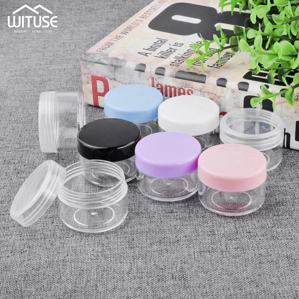 10pcs/lot 10g 15g 20g Empty Plastic Makeup Nail Art Bead Storage Container Portable Cosmetic Cream Jar Pot Box Round Bottle