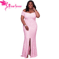 Dear Lover Off Shoulder Maxi Dress Plus Size Women Clothing Pink Lace Party Gowns Robe De