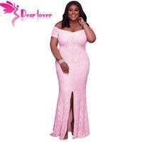 Dear Lover Tắt Shoulder Maxi dress Cộng Với Kích Thước Phụ Nữ Quần Áo Màu Hồng ren Đảng Gowns Robe de soiree Vestido Longo de Festa LC61602