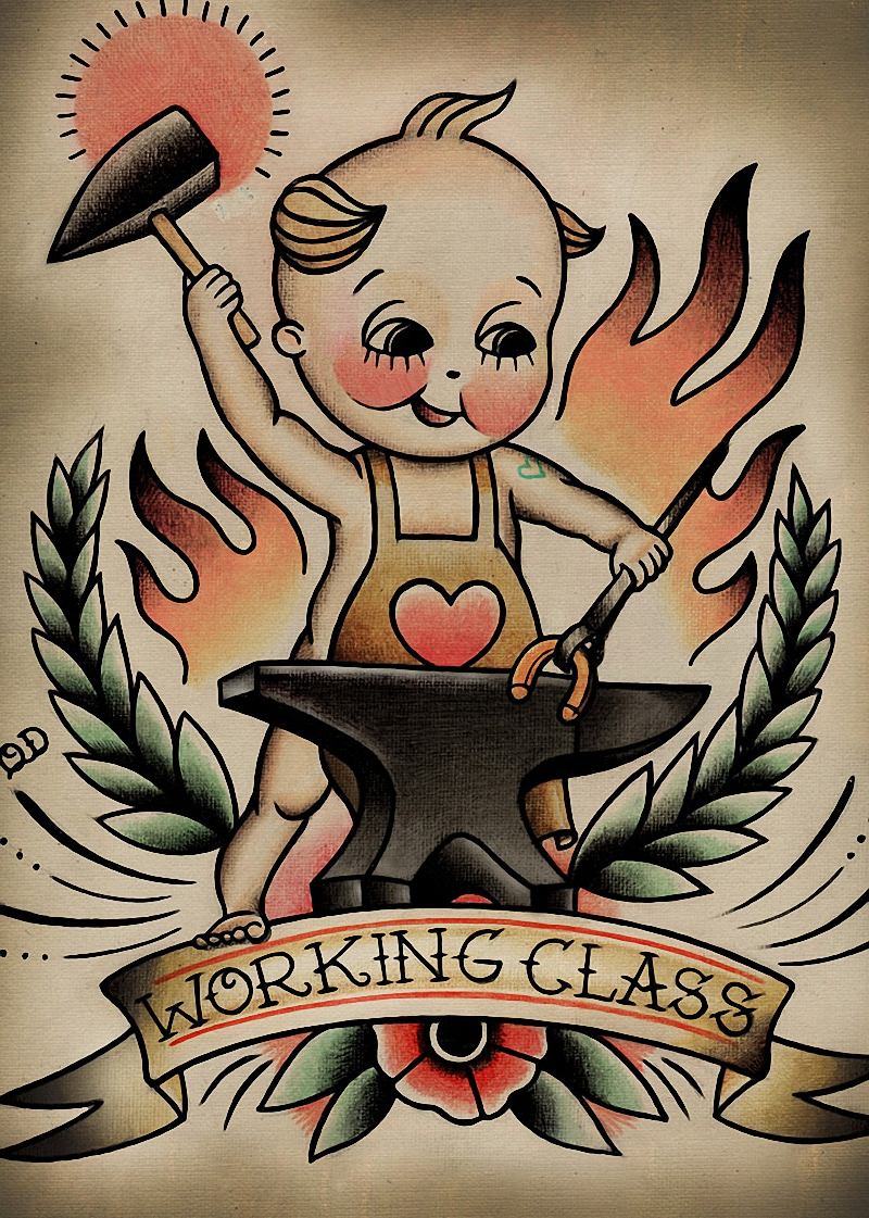 High quality vintage Tattoos design about Working Class Patterned Posters Kraft paper Wall Sticker Barber shop Home Deco WS-006