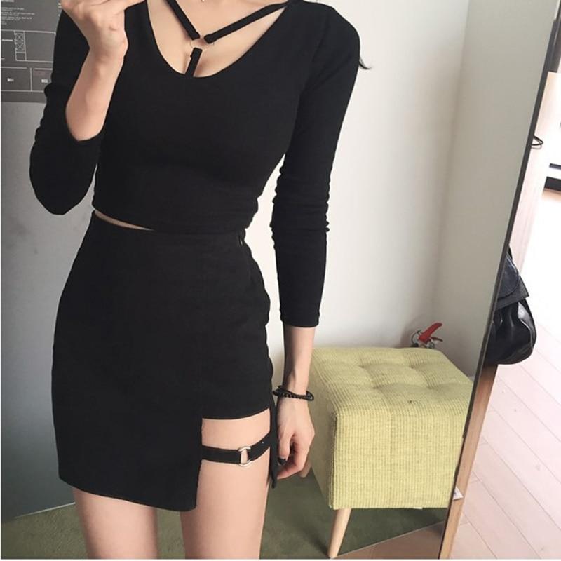 Korean Style Black Package Hip Skirts Gap Irregular Hem Pencil Micro Mini Skirt