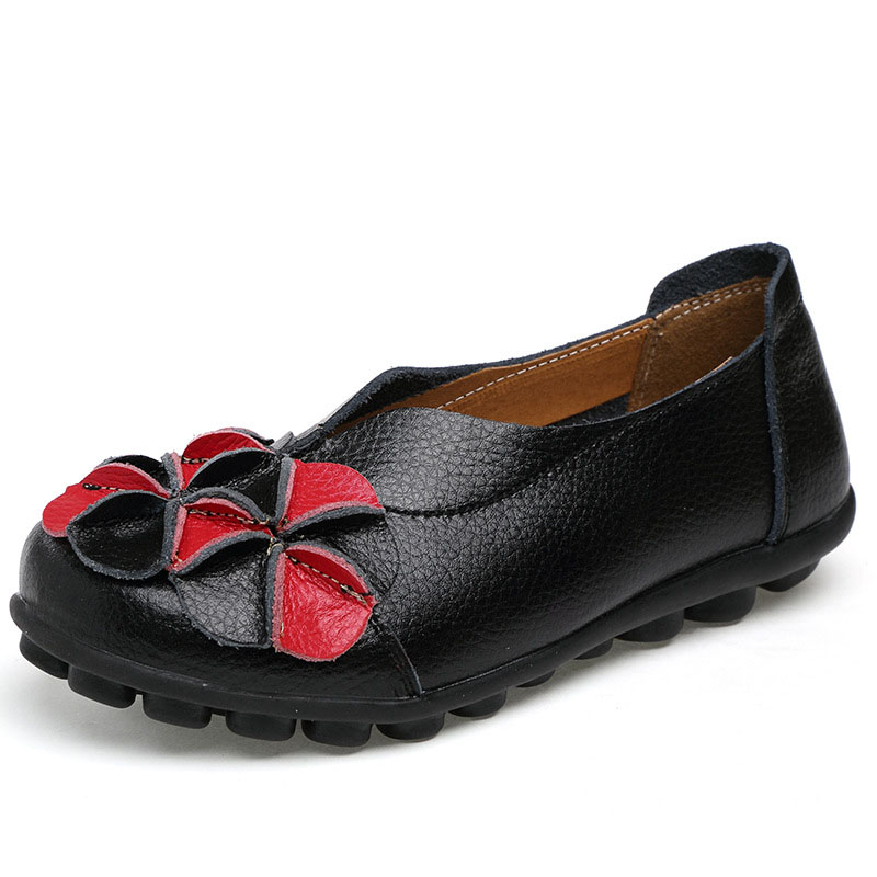 Women Genuine Leather Shoes Floral Women Shoes Fashion Design Ballerina Flats Slip On Moccasin Female Casual Shoes branded men s penny loafes casual men s full grain leather emboss crocodile boat shoes slip on breathable moccasin driving shoes