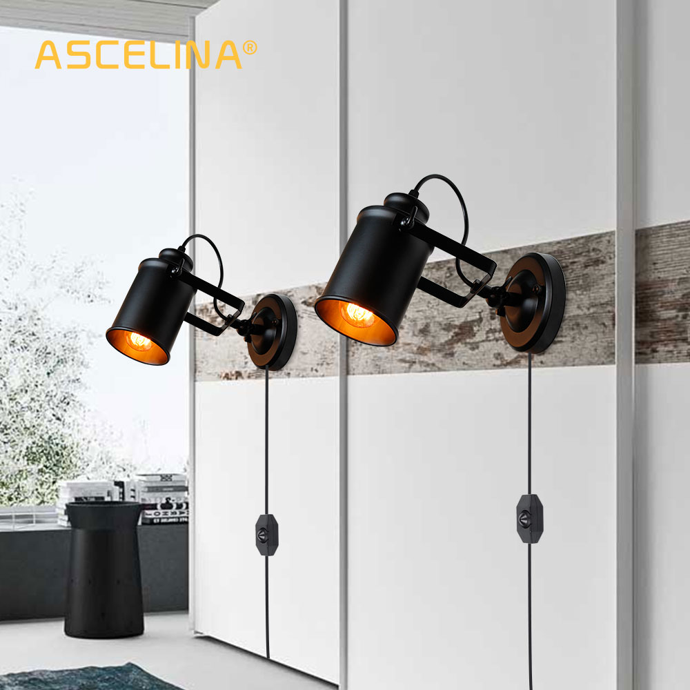 Industrial Wall Lamp Vintage wall light with Button / dimming switch handy Retro sconce Loft American country wall light fixture