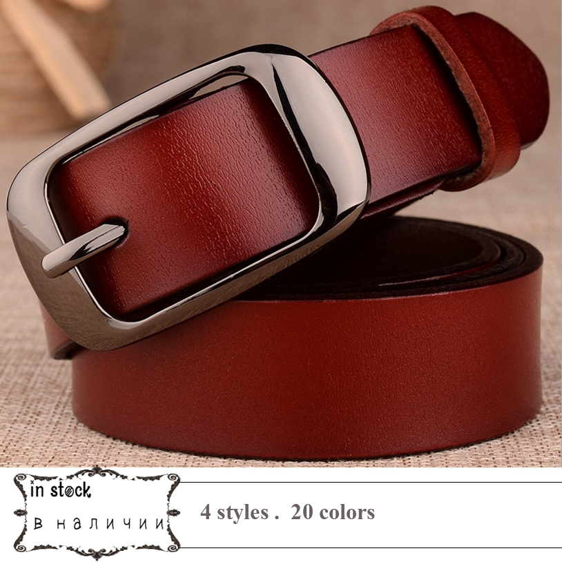 2018 Genuine Leather Women   Belt   for Women Strap Female Pin Buckle Fashion Vintage Metal Embossing   belts