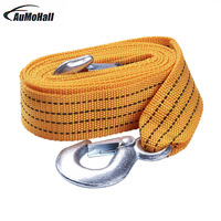 3 Tons Auto Tensioning Belts Tow Strap With Hooks Car Tow Cable Towing Strap Rope Loading