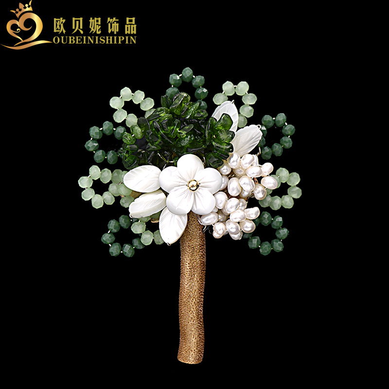 2017 Fashion Large Shell Flower Freshwater Pearl Beads Tree Brooch Pin For Women tree branch pearl brooch
