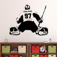 Hockey Goalie Custom Decal Wall Art Sticker Player Jersey Name And Numbers Kids Vinyl Wall Stickers