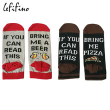 Summer Funny Cotton Socks if you can read this bring me a Pizza Beer Wine Donut Coffee Humor Words Women Men Ankle Socks Le68442(China)