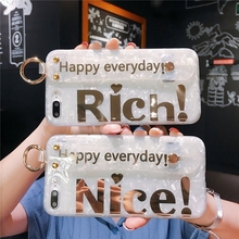 Simple Clear Shell Letters Wristband Phone Cover Case For Iphone X Xs Max Xr 10 8 7 6 6s Plus Luxury Soft Silicone Coque Fundas