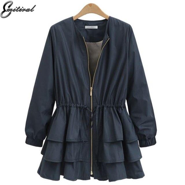 Emitiral осень-зима Для женщин куртка 2017 одежда с длинным рукавом эластичный пояс женский пальто слоистых Повседневное свободные плюс Размеры Для женщин Топы корректирующие