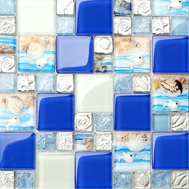 €221.18 |Résine coquillage plage bleu rose vert blanc cristal verre  mosaïque carrelage salle de bains douche évier dosseret TV toile de fond  carrelage ...