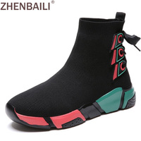 ZHENBAILI Color Block Platform Flat Lace Up Detail Women Breathable Mesh Sock Sneakers 2019 Autumn Ankle Boots Walking Footwear
