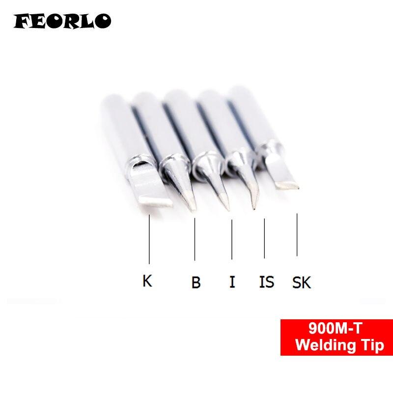 FEORLO 5pcs/lot Soldering Iron Tip Solder Tip Welding Tips 900M-T FOR 933.376.907.913.951,898D,852D+ Soldering Station
