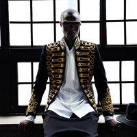 Большие размеры барокко Стиль Мужчины стадии выполнения носить пиджак на осень зиму роскошные золотые строки slim fit Формальные жениха Блейз