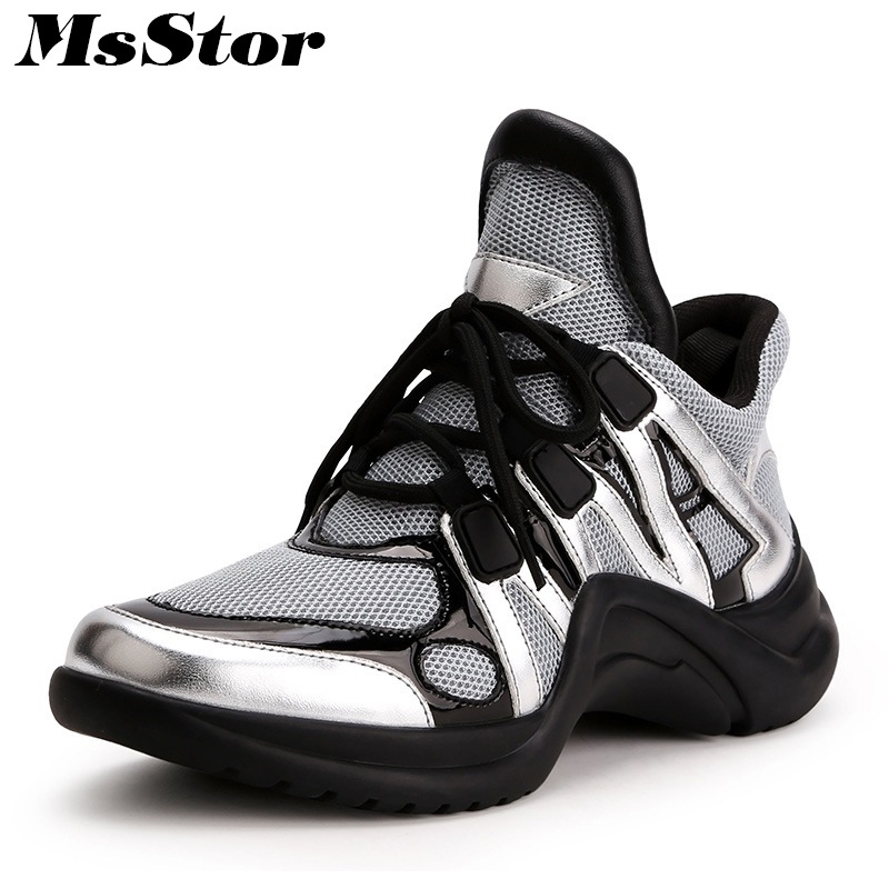 MsStor Round Toe Mixed Colors Sneakers Flats Shoes Woman Fashion Breathable Mesh Women Shoes Cross tied Women Brand Flat Shoes