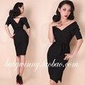 Palacio Vintage 2015 otoño nueva raya mujeres elegantes del vestido de diosa vestido negro ocasional vestido de hendidura importados de china envío gratis