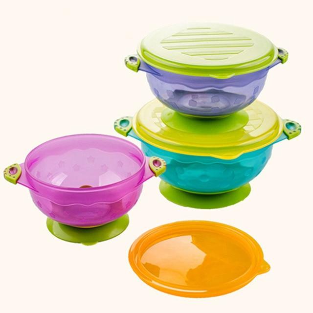 3 Pcs/set Training Baby Bowls Set Antiskid Bowl With Lid Slip Sucker Baby Tableware 2017 Kids New Arrivals Fashion High Quality
