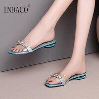 Women Slippers Summer Rhinestone Transparent Flat Slides Shoes Women 2cm