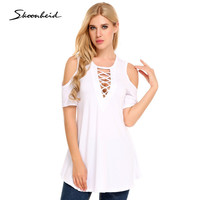 Ribbed Crisscross Front Short Sleeve Sexy Cut Out Shoulder Chic T Shirt Women Tops Tees Casual