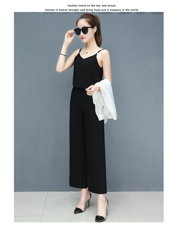 2019 Spring summer women sets office lady elegant chiffon blouse shirts+female wide leg pants trousers pantalon two piece sets 16