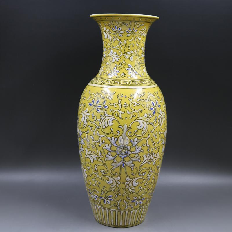 Античная фарфоровая ваза QingDynasty, белая бутылка из желтого стекла, ручная роспись, украшения, коллекция и украшения, бесплатная доставка