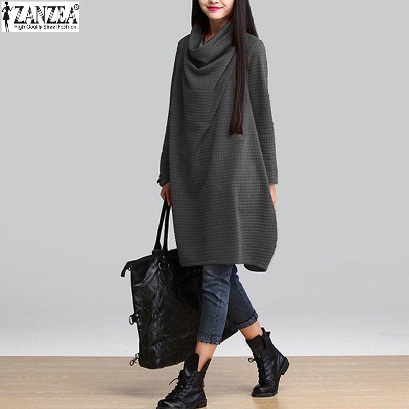 Zanzea Vestidos 2018 Autumn Winter Women Casual Cotton Loose Scarf Collar  Dress Temperament Long Sleeve Blouse Plus Size Dress-in Dresses from Women s  ... bbdc41a93819