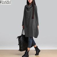 Vestidos 2015 Autumn Winter Women Casual Cotton Loose Scarf Collar Dress Solid Temperament Long Sleeve Blouse