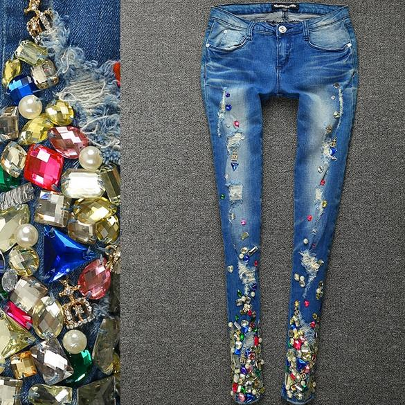 New Arrival Fashion WomenDiamond Crystal Beading women skinny Vintage Mid Waist Jeans Plus Size