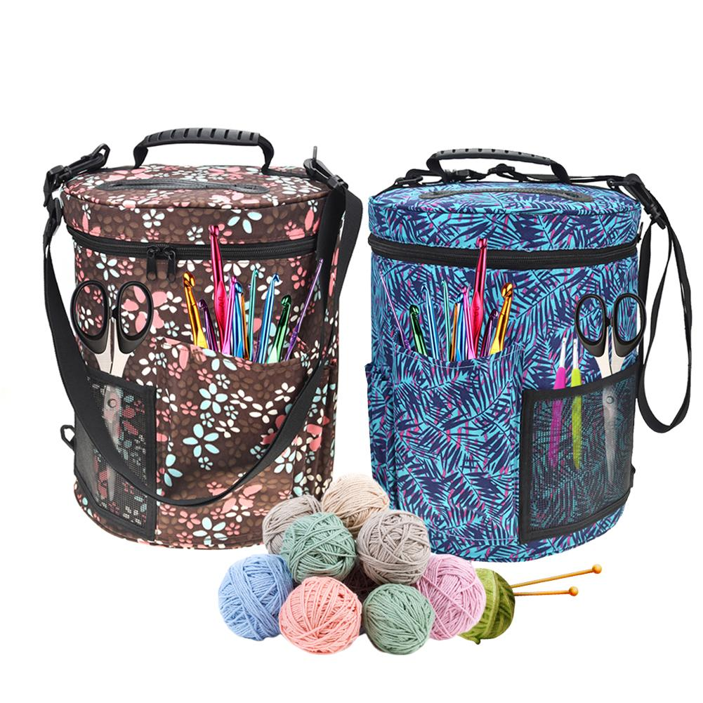 New Large-sized Cylinder Crochet Hook Storage Bag Woolen Yarn Storage Bag Tote Organizer For Knitting And Knitting Polyester