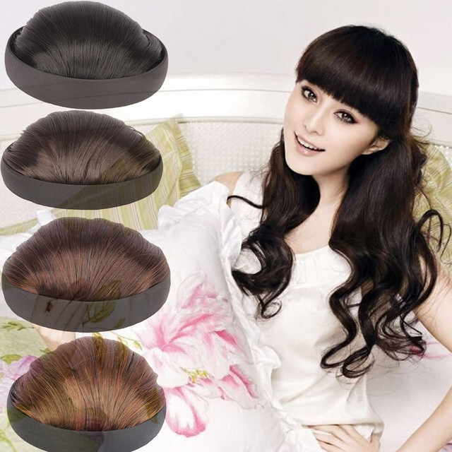Women Neat Hair Fringes With Hairband Hair Extensions Short Straight