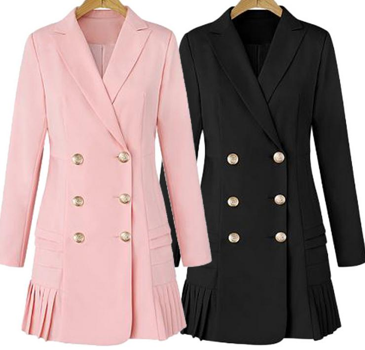 Size Temperament Dress sleeved Women Plus Double New Long Spring 3xl Pleated pink Black Windbreaker Lapel breasted 2018 PUfOwqvx