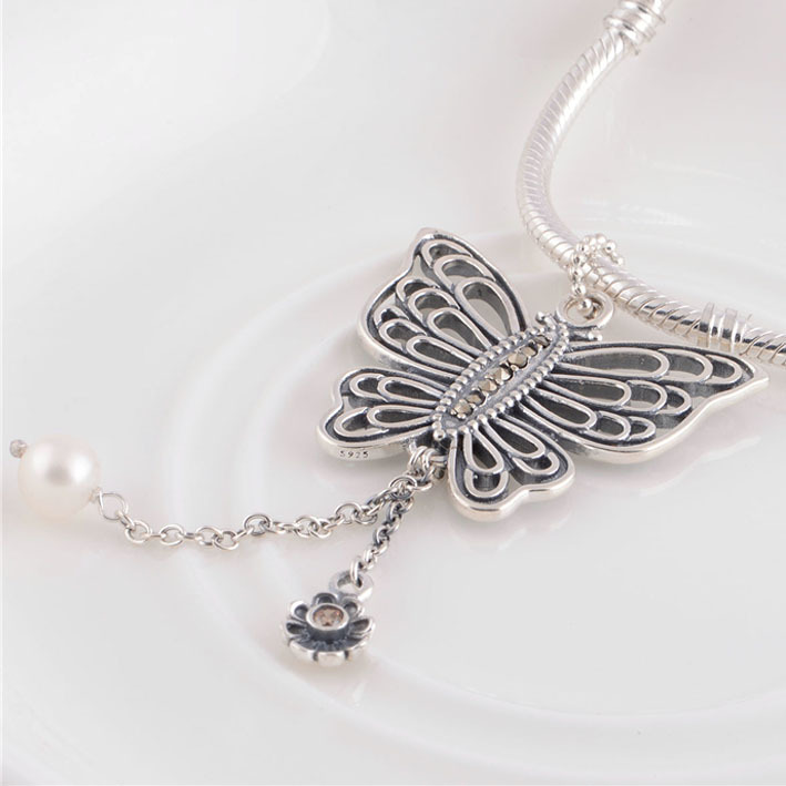 Fits pandora charms bracelet solid 925 sterling silver openwork fits pandora charms bracelet solid 925 sterling silver openwork butterfly charm pendant diy necklaces pendants making in charms from jewelry accessories aloadofball Images