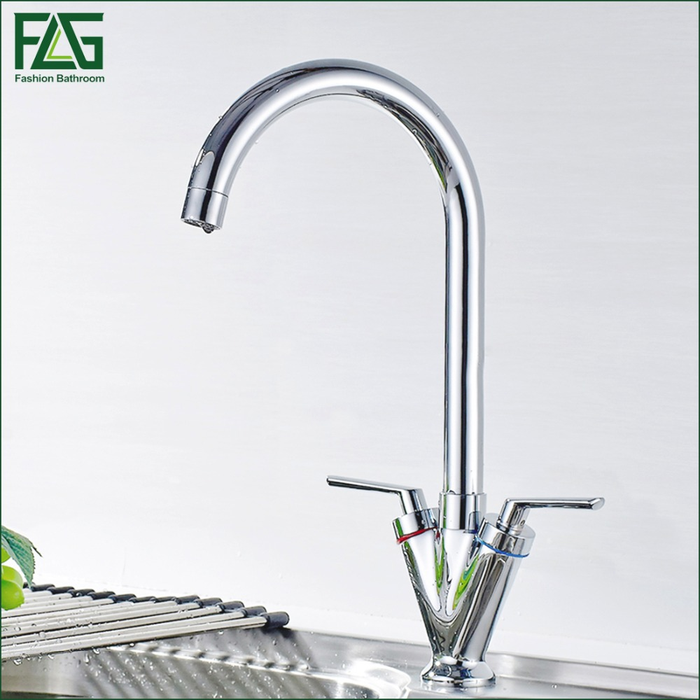 FLG Kitchen Faucet Brass Chrome Cold and Hot Water Mixer Tap Dual Handle 360 Rotation Kitchen Sink Faucet Torneira Cozinha new afb1212she 12038 12cm 1 6a 12v 4wire pwm 40cm long line of fan for delta 120 120 38mm