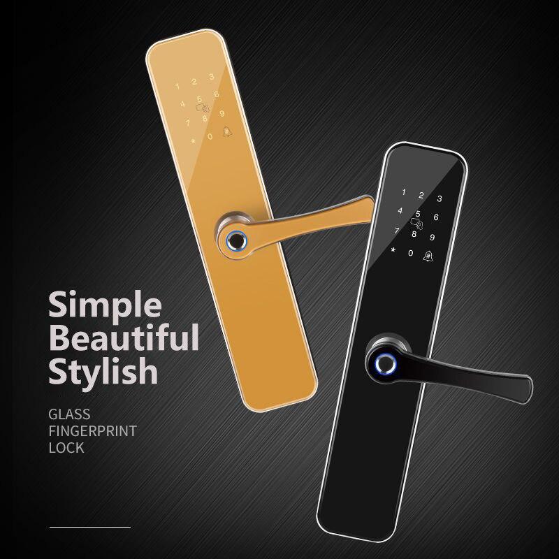 Élégant simplicité américaine empreinte digitale serrure de porte en alliage d'aluminium noir carte à puce téléphone Mobile à distance bouton de porte serrure