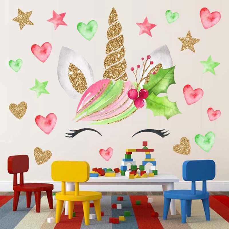Colorful Flower Animal Unicorn Wall Sticker 3D Art Decal Sticker Child Room Nursery Wall Decoration Home Decor Gifts For Kids