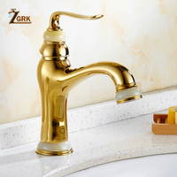 ZGRK European Style Jade Basin Faucet Deck Mounted Hot and Cold Water Tap Gold Antique Faucet