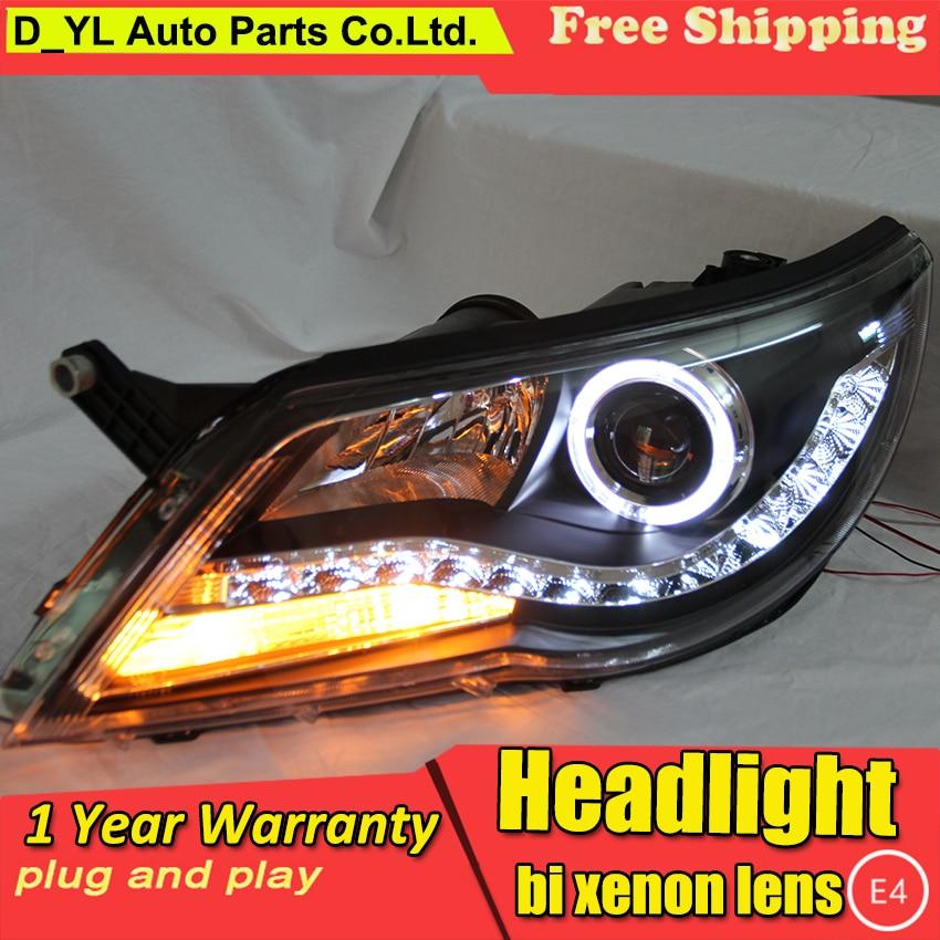 Free shopping car Styling Head lamp for VW Tiguan 2010 2012 LED Headlight DRL H7 D2H