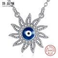 Стерлингового Серебра 925 Ожерелья & Подвески Для Женщин Элегантный Цветок и Голубой Эмалью Глаз Ожерелье Бижутерии Femme