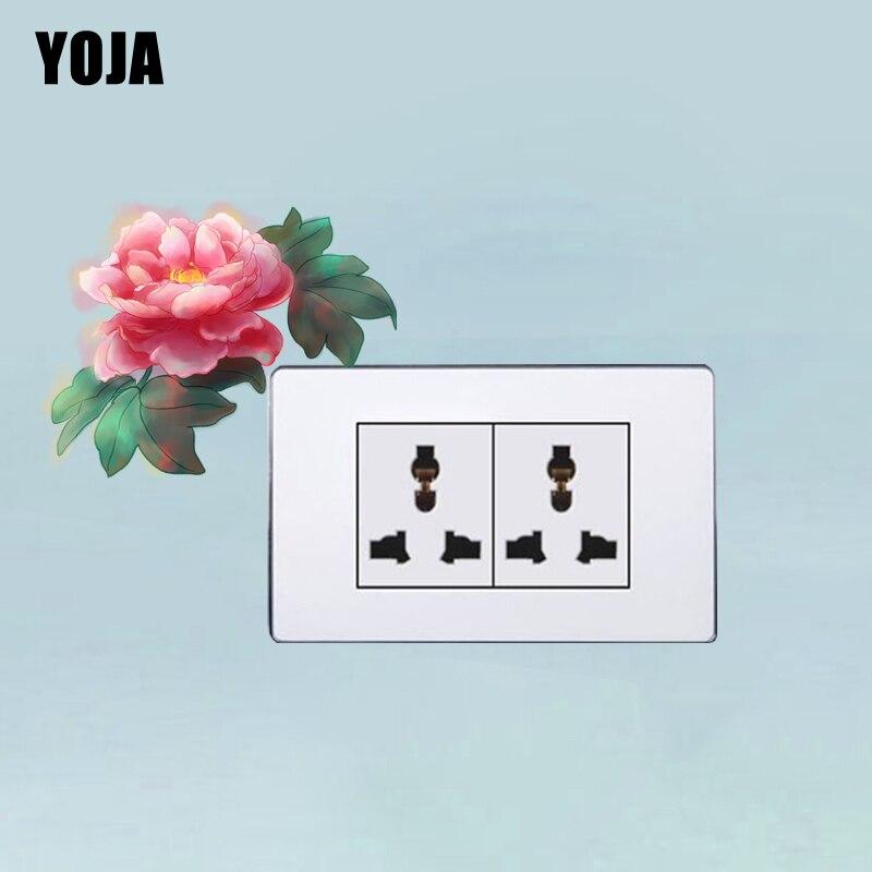 YOJA Switch Sticker Beautiful Perfect Warm Rose Flower Plant Fashion Design PVC Modern Wall Decal 13SS0053