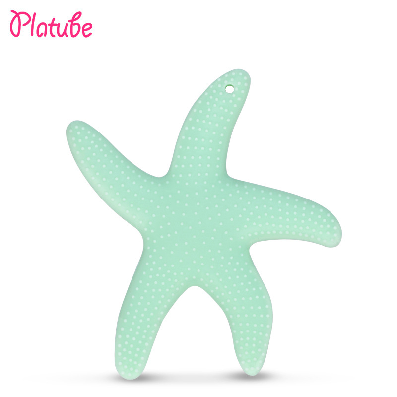 Toddler Starfish BPA free Silicone Teether baby Teething chew Toy beads DIY chew Necklace Nursing Tool Pendant Food Grade duck animal series many chew toy page 7