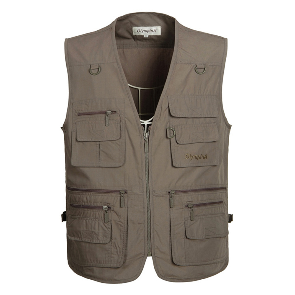 Fishing Vest Men Summer Traveller Sleeveless Jackets Veste Outdoors Casual Vest Med Mange Lommer Stor Størrelse 5XL