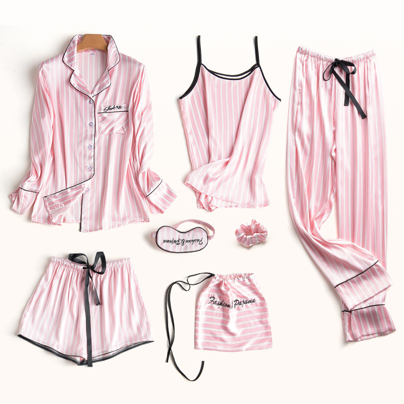 Pajamas     Set   Women Silk Summer Sexy Flower Pyjamas Sexy Female Long Sleeve Shirt Pants Handwork Stitch Lingerie Striped Sleepwear