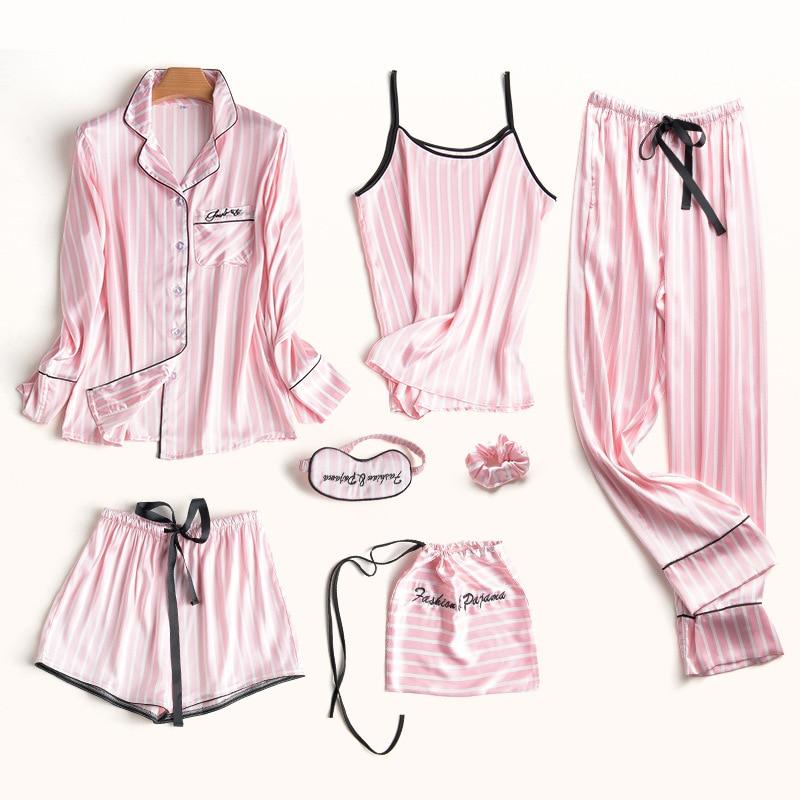 Pajamas Set Women Silk Summer Sexy Flower Pyjamas Sexy Female Long Sleeve Shirt Pants Handwork Stitch Lingerie Striped Sleepwear