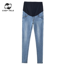 Large Size Light Blue Stretch Washed Denim Maternity Jeans Autumn Fashion Trousers Clothes for Pregnant Women Pregnancy Pants