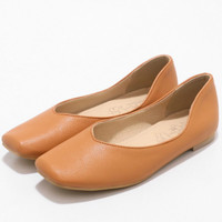 2018 New Womens Ballet Flats Square Toe Slip on Rubber Solid Casual Shoes White Yellow Brown Black Pink Plus Big Size 46 33