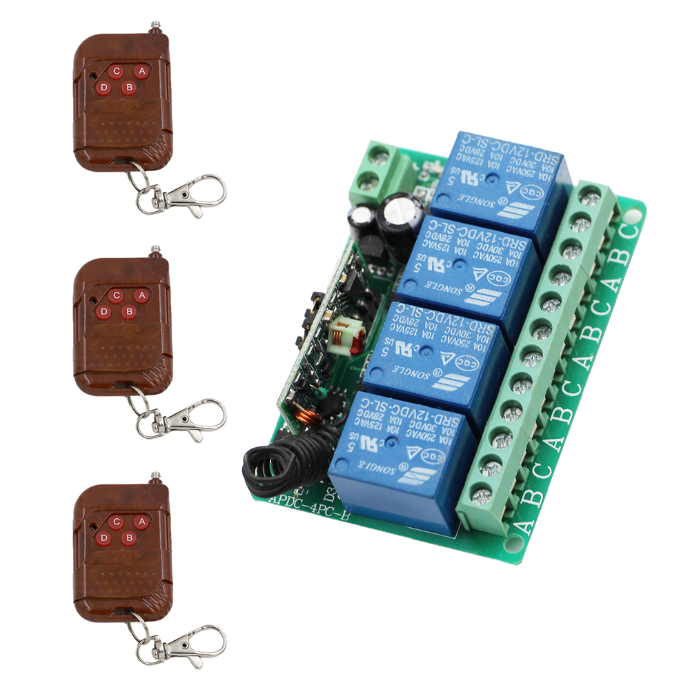 DC12V 4CH 10A RF Wireless Remote Control Switch System 3 Transmitter & 1 Receiver Relay Receiver Smart Home Switch 315/433Mhz dc12v 10a rf remote control switch system 1ch 1 channel relay 3 x wireless receiver and 1x transmitter sku 5378