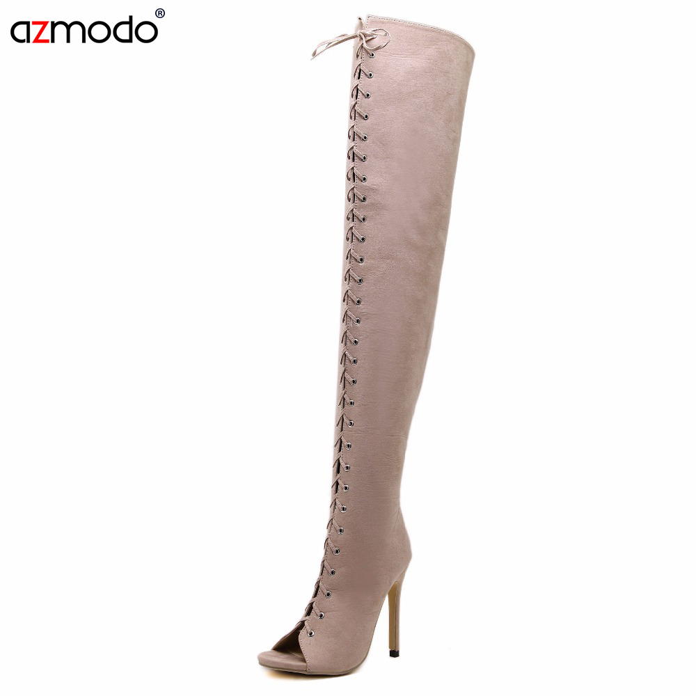 Lace Over The Knee Thigh High Boots Open Toe Gladiator Sandals Sexy Party Club Women Boots Sandal Shoes Girls Summer Boot hot boots women sexy black thigh high boots peep toe soft leather back zip high heels over the knee boots gladiator sandal boots